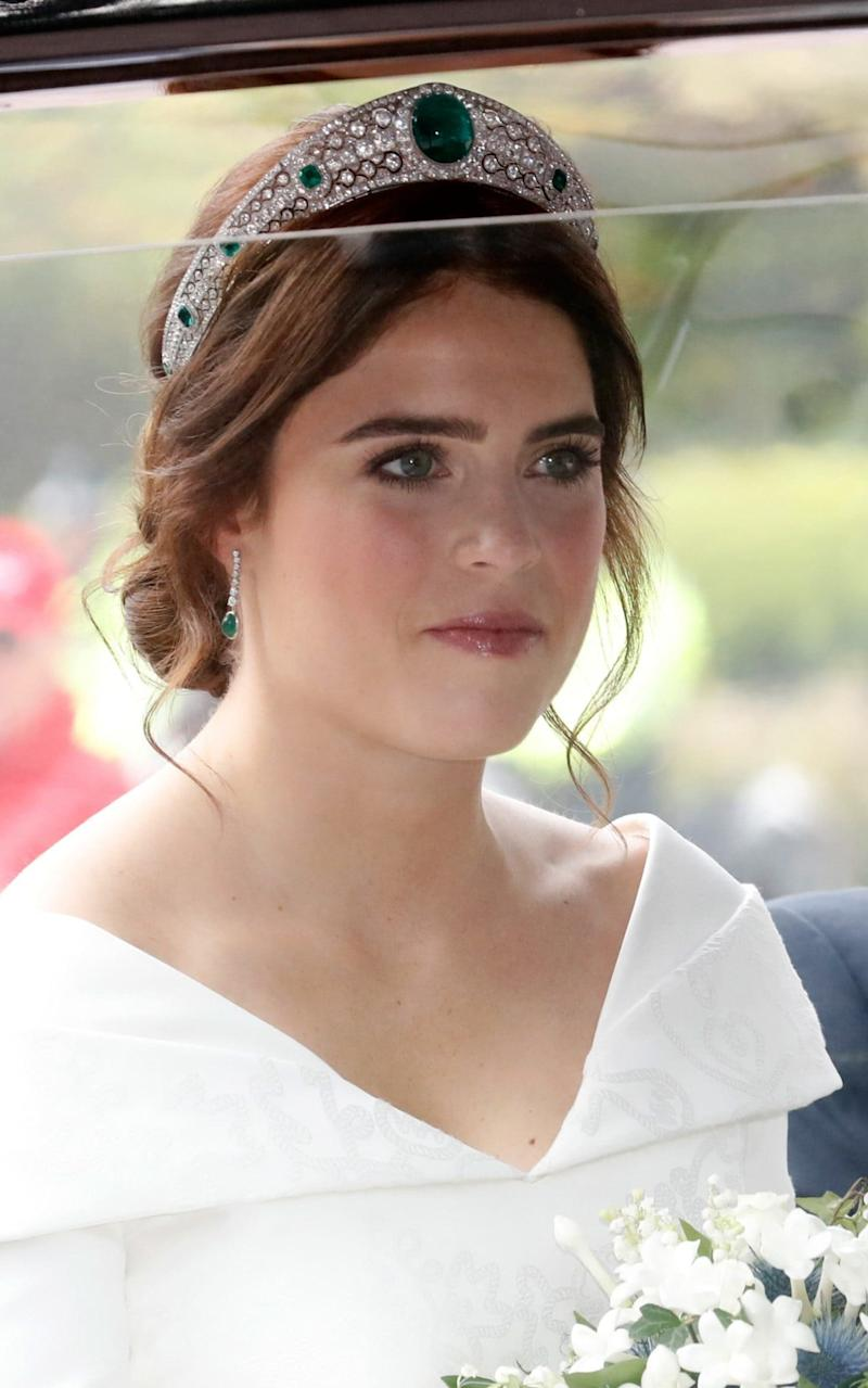 Princess Eugenie wearing the Greville Emerald Kokoshnik tiara, which features a 93.70-carat emerald at its centre - Getty Images Europe