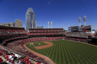 A view of the field during the fourth inning of a baseball game between the Cleveland Indians and the Cincinnati Reds in Cincinnati, Sunday, April 18, 2021. (AP Photo/Aaron Doster)