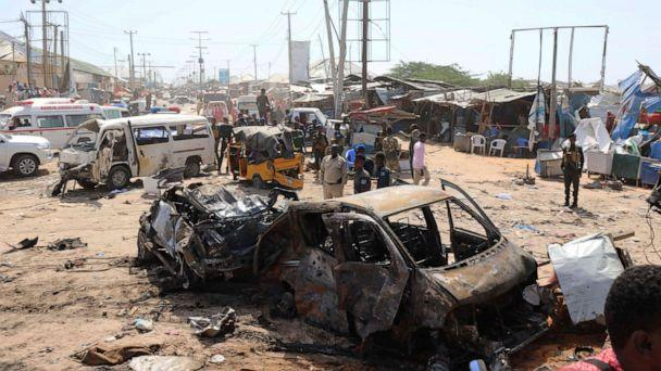 PHOTO: A general view shows the scene of a car bomb explosion at a checkpoint in Mogadishu, Somalia, Dec. 28, 2019. (Feisal Omar/Reuters)