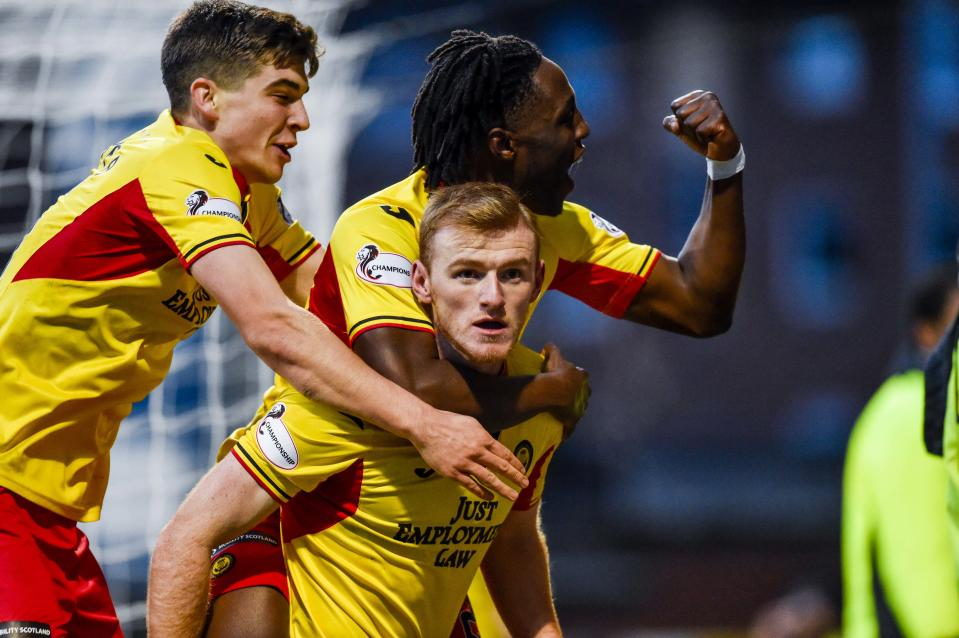 GLASGOW, SCOTLAND - NOVEMBER 09: Partick Thistle's Shea Gordon celebrates mafter scoring to make it 2-1 during the Ladbrokes Championship match between Partick Thistle and Greenock Morton, at The Energy Check Stadium at The Energy Check Stadium at Firhill on November 09, 2019, in Glasgow, Scotland (Photo by Rob Casey / SNS Group via Getty Images)
