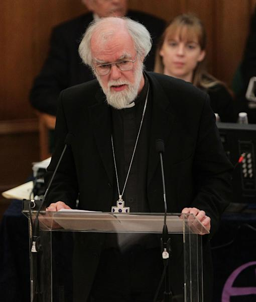 The outgoing Archbishop of Canterbury Rowan Williams speaks during a meeting of the General Synod of the Church of England, at Church House in central London, Wednesday Nov. 21, 2012. The leader of the Church of England says it has much explaining to do following its failure to vote to allow women to serve as bishops. (AP Photo/Yui Mok, Pool)