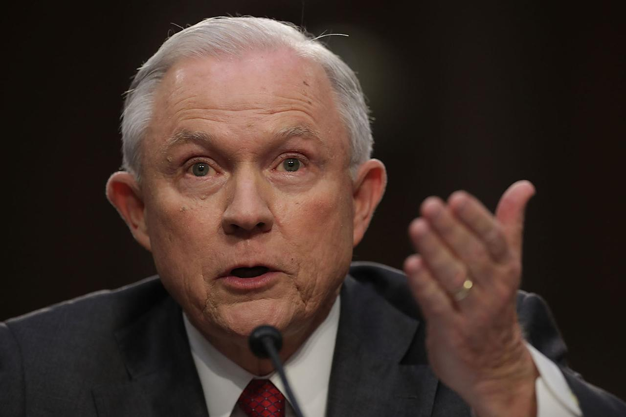 <p>U.S. Attorney General Jeff Sessions testifies before the Senate Intelligence Committee about Russian interference in the 2016 presidential election in the Hart Senate Office Building on Capitol Hill June 13, 2017 in Washington, D.C. (Photo: Chip Somodevilla/Getty Images) </p>