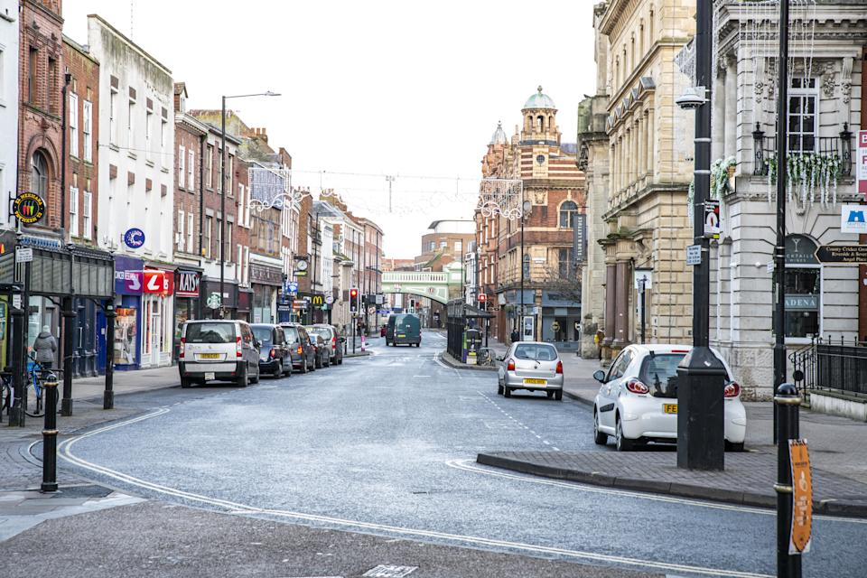 An empty High Street in Worcester city centre, Worcestershire, on the first day of the third national lockdown in England, to reduce the spread of COVID-19. Prime Minister Boris Johnson announced further coronavirus restrictions during a televised address to the nation last night.