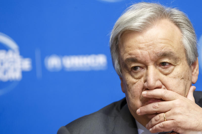"""FILE - In this Dec. 17, 2019 file photo, U.N. Secretary-General Antonio Guterres attends the UNHCR - Global Refugee Forum at the European headquarters of the United Nations in Geneva, Switzerland. When financial markets collapsed and the world faced its last great crisis in 2008, major powers worked together to restore the global economy, but the COVID-19 pandemic has been striking for the opposite response. The financial crisis gave birth to the leaders' summit of the Group of 20, the world's richest countries responsible for 80% of the global economy. But when Guterres proposed ahead of their summit in late March that G-20 leaders adopt a """"wartime"""" plan and cooperate on the global response to suppress the virus, there was no response (Salvatore Di Nolfi/Keystone via AP, File)"""