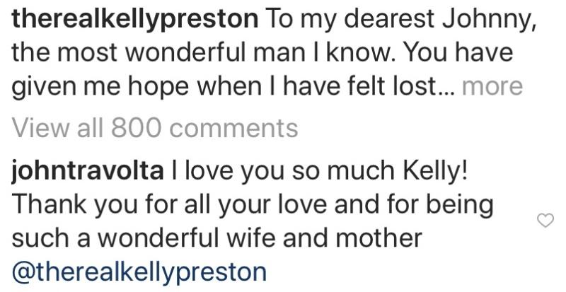 Kelly Preston instagram comments https://www.instagram.com/p/B2CUIZig-YR/