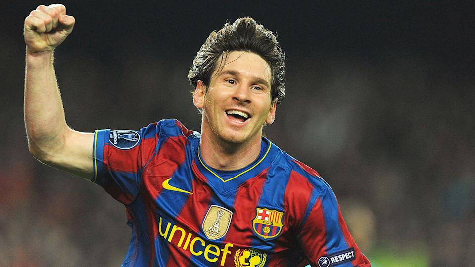Lionel Messi is seen here celebrating during a match for Barcelona.