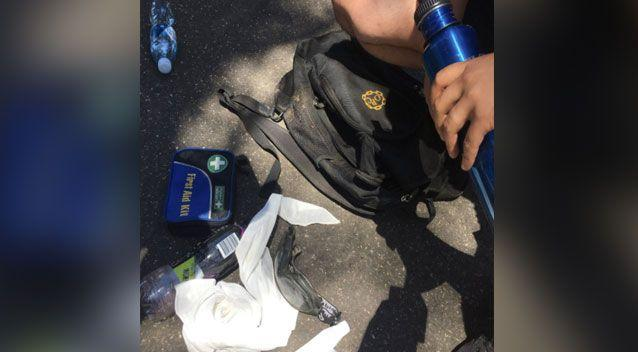 Mr Ascui's backpack contained just one water bottle and a sandwich. Photo: 7 News