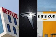 The logos of Netflix, Tesla and Amazon are seen in this combination photo