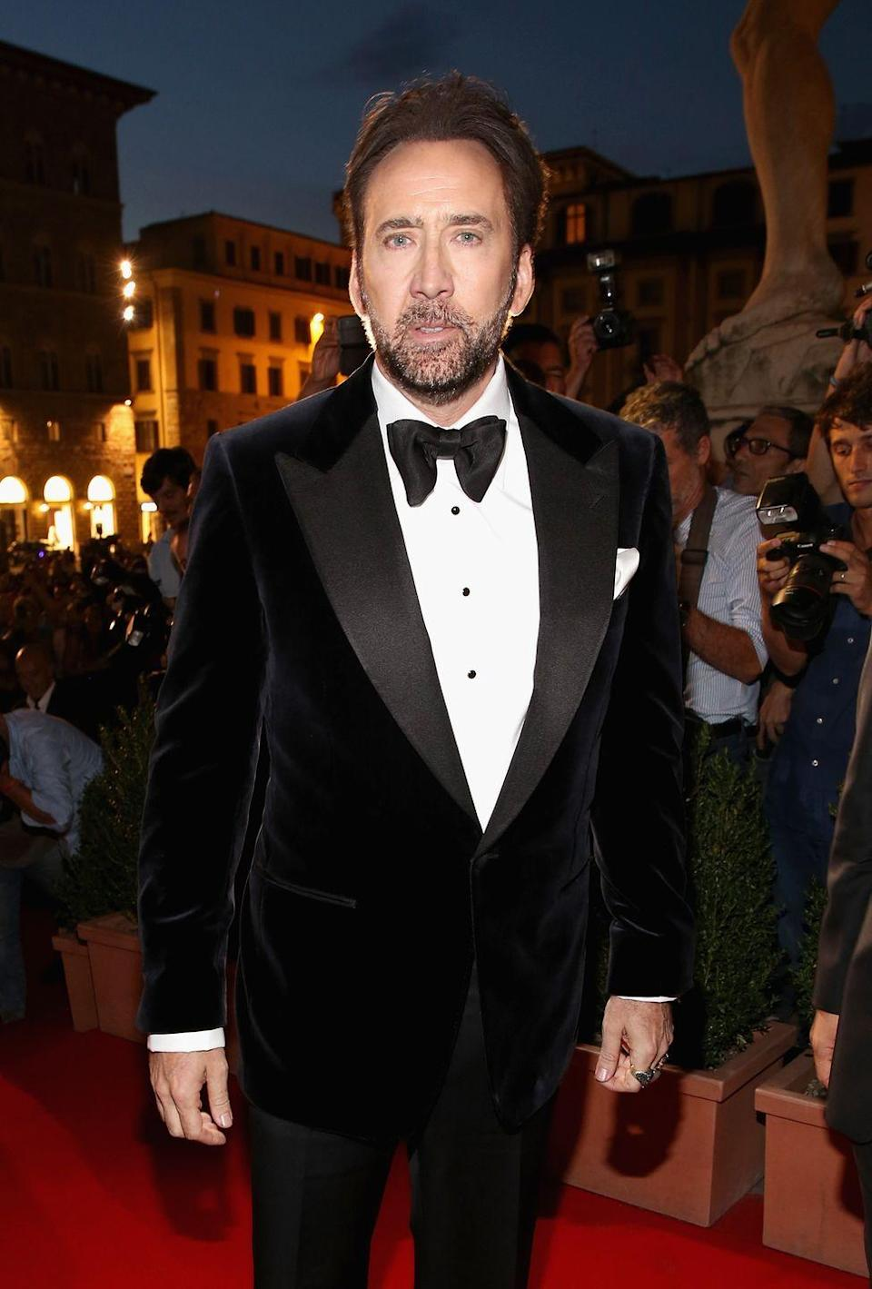 """<p>Nicolas Cage is known for being eccentric, but even we were shocked (and a little confused) when he revealed that he only eats animals who mate in """"a <a href=""""https://www.telegraph.co.uk/news/celebritynews/7739028/Nicolas-Cage-reveals-bizarre-diet-of-animals-that-have-dignified-sex.html"""" rel=""""nofollow noopener"""" target=""""_blank"""" data-ylk=""""slk:dignified way"""" class=""""link rapid-noclick-resp"""">dignified way</a>.""""</p>"""