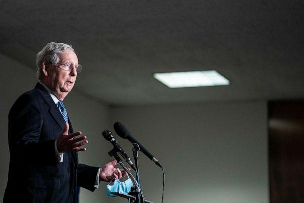 PHOTO: Senate Majority Leader Mitch McConnell speaks to reporters following the weekly Senate Republican caucus luncheon, Nov. 10, 2020, in Washington, DC. (Sarah Silbiger/Getty Images)