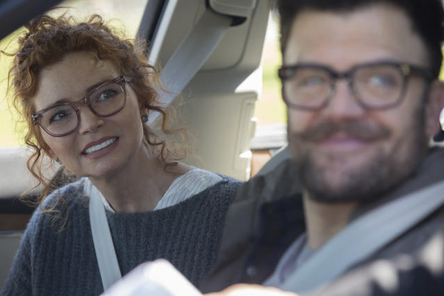 Brigid Brannagh and Kevin Weisman as the Yorkes in <em>Marvel's Runaways</em>. <b> </b>(Photo: Paul Sarkis/Hulu)
