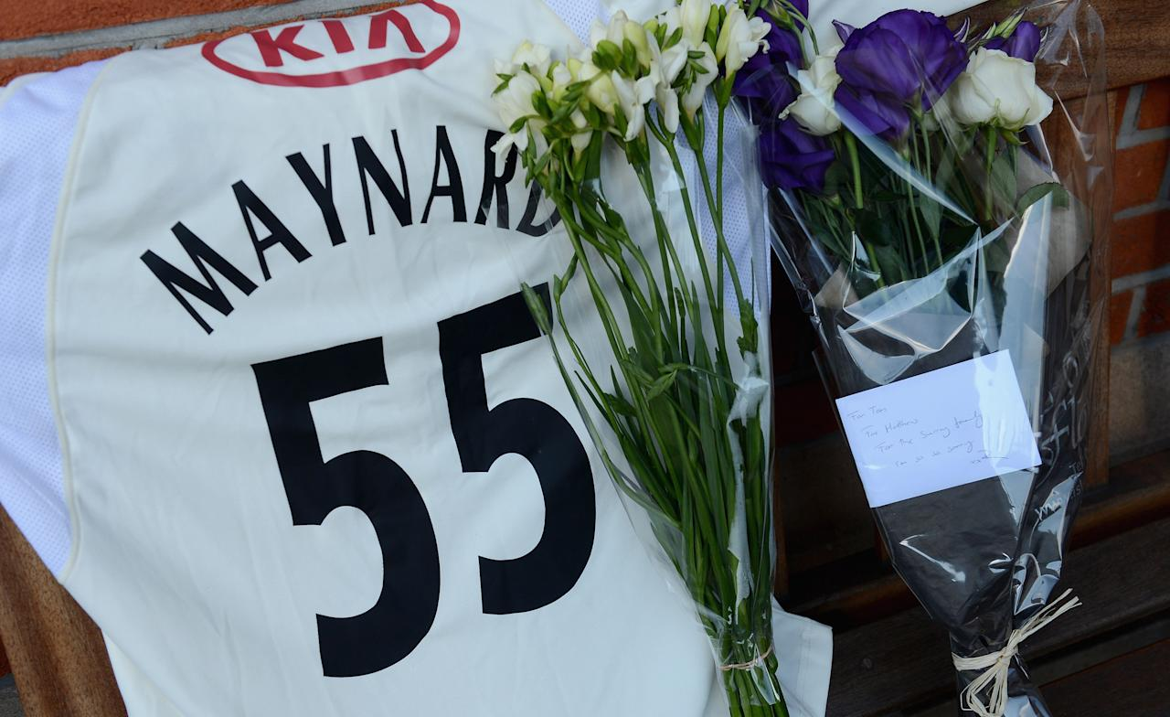 LONDON, ENGLAND - JUNE 19:  Tributes in memory of Surrey cricketer Tom Maynard who died yesterday are left outside at The Kia Oval on June 19, 2012 in London, England.  (Photo by Gareth Copley/Getty Images)