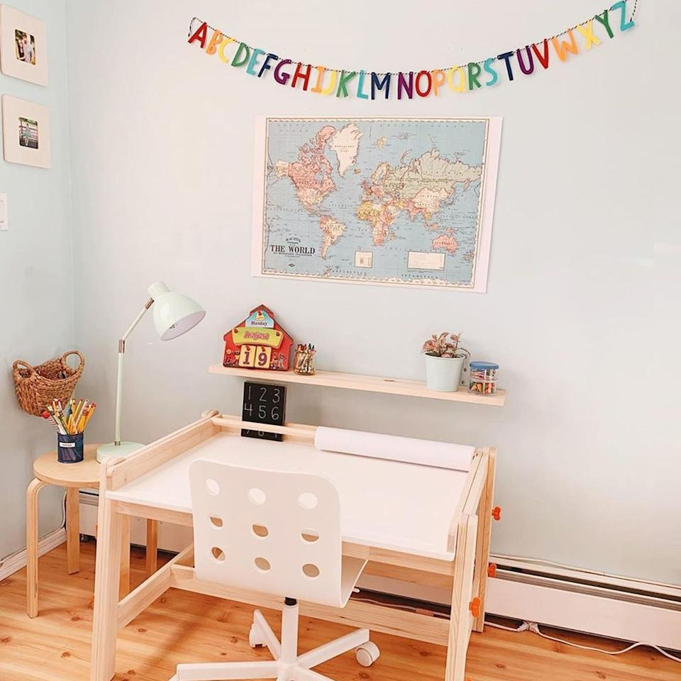 """<p>Whether your student is using this space as a homework hub, or they're logging serious artistic hours, the paper roll will really come in handy. From having paper on hand for a quick art project to having something to jot down math equations on, the uses for a paper roll are endless.</p><p><a class=""""body-btn-link"""" href=""""https://www.amazon.com/Melissa-Doug-Wooden-Tabletop-Dispenser/dp/B0094RGCOS?tag=syn-yahoo-20&ascsubtag=%5Bartid%7C2089.g.33457305%5Bsrc%7Cyahoo-us"""" target=""""_blank"""">Shop Paper Roll Set</a><strong><br></strong><strong><br></strong><strong>More:</strong> <a href=""""//www.bestproducts.com/lifestyle/g1804/school-supplies-list/"""" target=""""_blank"""">These Cute School Supplies Are a Must-Have for a Productive Academic Year</a></p>"""