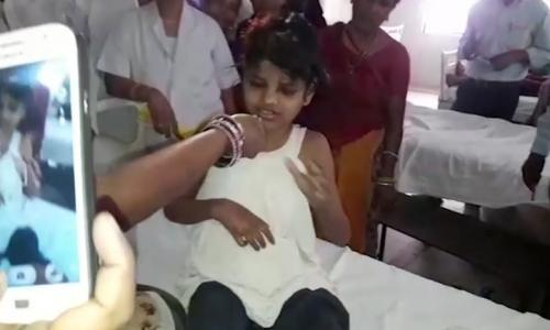 The young girl treated at a Bahraich hospital in northern India.