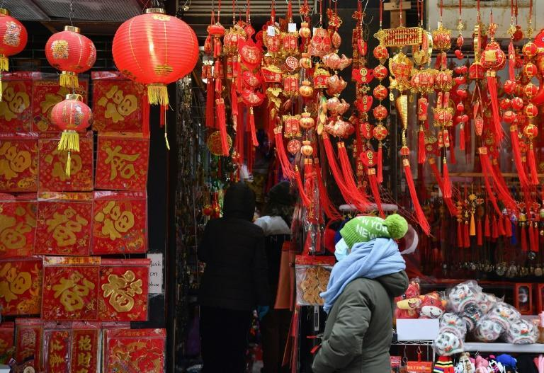 A shop in Chinatown selling Lunar New Year gifts on February 12, 2021