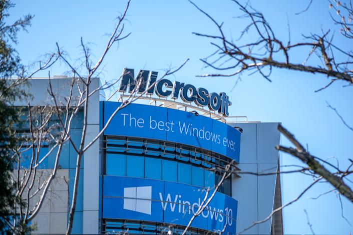 Athens,Greece-March 10,2019.The building of Microsoft corporation at Amaroussion Athens-Greece.