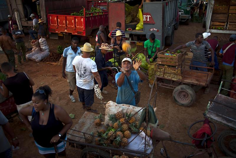 A vendor reaches out to catch a pineapple at a food market where he purchases the fruit to then resell on the streets, on the outskirts in Havana, Cuba, Wednesday, sept. 25, 2013. Cuban authorities on Thursday announced 18 new categories of independent employment that will be permitted under President Raul Castro's economic reforms, and also restrictions intended to regulate other private entrepreneurs already in business. (AP Photo/Ramon Espinosa)
