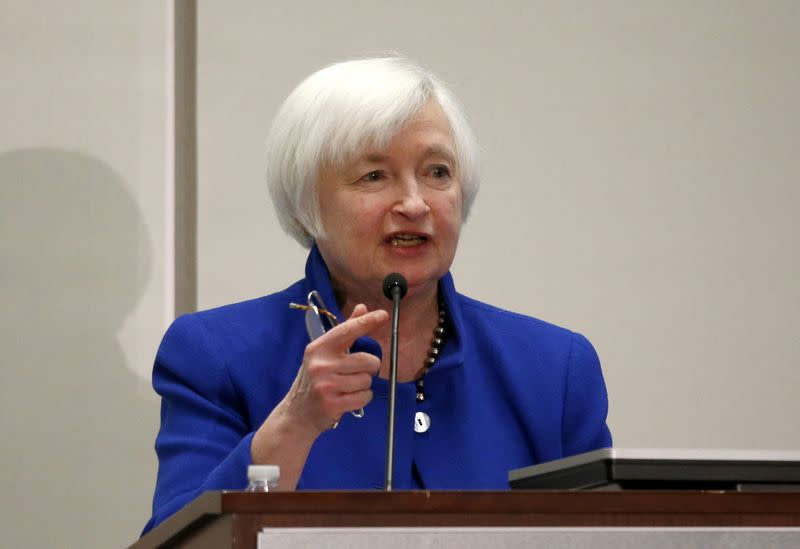 "U.S. Federal Reserve Chair Janet Yellen speaks at ""The Elusive 'Great' Recovery: Causes and Implications for Future Business Cycle Dynamics"" conference hosted by the Federal Reserve Bank of Boston in Boston, Massachusetts, U.S., October 14, 2016. REUTERS/Mary Schwalm"