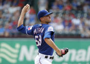 Texas Rangers starting pitcher Brett Martin throws to the Seattle Mariners in the first inning of a baseball game in Arlington, Texas, Sunday, Sept. 1, 2019. (AP Photo/Tony Gutierrez)