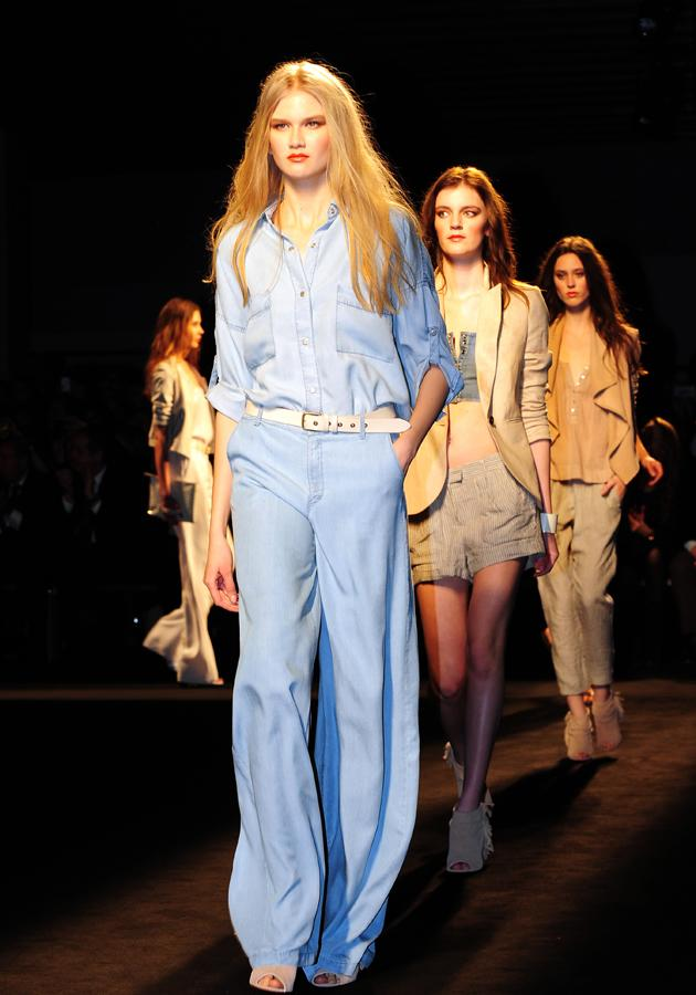 Soft, loose denim was a key trend on the Mango autumn/winter 13 catwalk, with this model rocking the double denim look.<br><br>©WENN