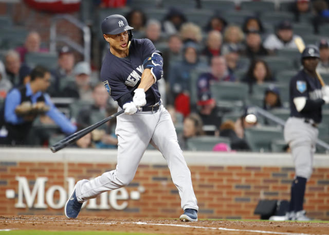 "<a class=""link rapid-noclick-resp"" href=""/mlb/players/8634/"" data-ylk=""slk:Giancarlo Stanton"">Giancarlo Stanton</a> is a real threat to hit 60+ homers now in Yankee Stadium (AP Photo)."