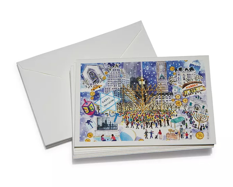 "Michael Storrings' Hanukkah cards don't come cheap, but when you think about a) how special snail mail is and b) that we often display holiday cards for weeks on end, doesn't that justify the price? Plus, one look at Storrings' beautiful New York City illustration and you'll realize these aren't your typical drugstore cards. $50, Bloomingdales. <a href=""https://www.bloomingdales.com/shop/product/michael-storrings-hanukkah-cards?ID=3730747&CategoryID"" rel=""nofollow noopener"" target=""_blank"" data-ylk=""slk:Get it now!"" class=""link rapid-noclick-resp"">Get it now!</a>"
