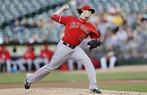 Los Angeles Angels starting pitcher Garrett Richards throws to the Oakland Athletics during the first inning of a baseball game, Tuesday, April 30, 2013, in Oakland, Calif. (AP Photo/Marcio Jose Sanchez)
