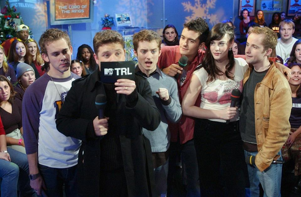 <p>The cast of <b>The Lord of the Rings</b> visited <b>TRL</b> in 2001.</p>