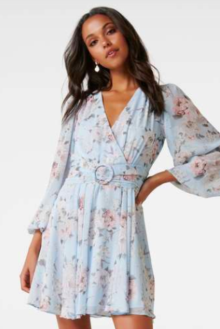 "<a href=""https://fave.co/2SBKJYk"">BUY HERE</a> Belted floral skater dress with balloon sleeves, by Forever New from Shoppers Stop, for a discounted price of Rs. 4,760"