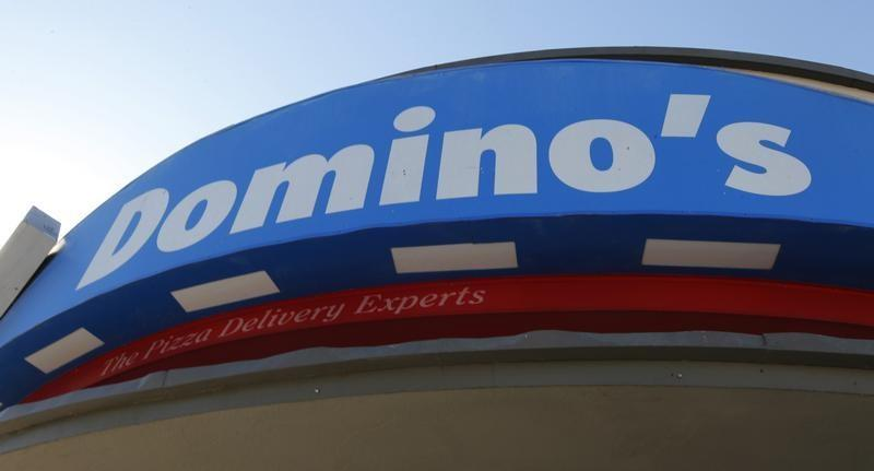 Signage at a Domino's pizza restaurant is pictured in Burbank, California