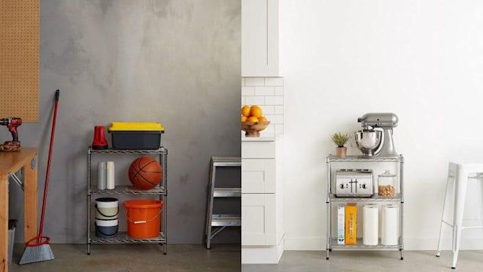 You can store just about anything on this sturdy shelving unit.