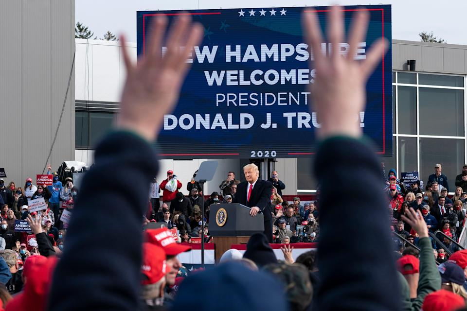 <p>Donald Trump rallies the faithful in Manchester, New Hampshire</p> (AP)