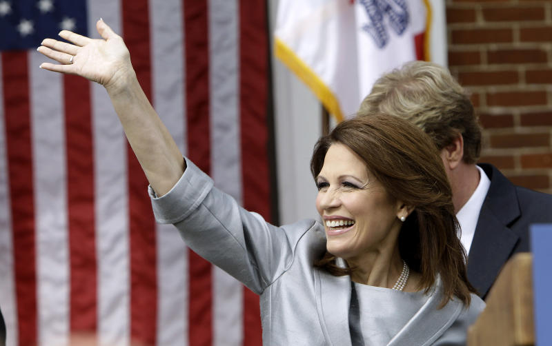 Rep. Michele Bachmann, R-Minn., waves to supporters before making her formal announcement to seek the 2012 Republican presidential nomination, Monday, June 27, 2011, in Waterloo, Iowa.  Bachmann, who was born in Waterloo, will continue her announcement tour this week with stops in New Hampshire and South Carolina. (AP Photo/Charlie Neibergall)