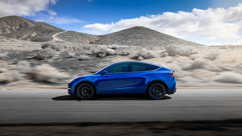 Tesla Model Y Side Blue