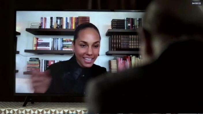Grammy-winner Alicia Keys and music executive Clive Davis chat as part of the latter's virtual annual pre-Grammy gala Saturday.
