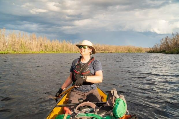 Ian Lipchak pictured on a canoeing trip in Ontario because his B.C. backcountry plans were cancelled two years in a row.  (Submitted by Ian Lipchak - image credit)