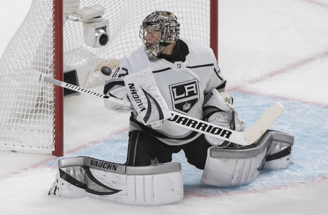 Los Angeles Kings goaltender Jonathan Quick is scored on by Montreal Canadiens' Shea Weber during the first period of an NHL hockey game Saturday, Nov. 9, 2019, in Montreal. (Graham Hughes/The Canadian Press via AP)