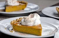 """<p>Don't make your pies day of — you'll run out of room in the oven and they taste just as good after being frozen. And certainly don't forget about pumpkin pie on Thanksgiving, it's one of the <a href=""""https://www.thedailymeal.com/most-iconic-pie-every-state-gallery?referrer=yahoo&category=beauty_food&include_utm=1&utm_medium=referral&utm_source=yahoo&utm_campaign=feed"""" rel=""""nofollow noopener"""" target=""""_blank"""" data-ylk=""""slk:most iconic pies in America"""" class=""""link rapid-noclick-resp"""">most iconic pies in America</a>.</p> <p><a href=""""https://www.thedailymeal.com/best-recipes/pumpkin-pie-easy?referrer=yahoo&category=beauty_food&include_utm=1&utm_medium=referral&utm_source=yahoo&utm_campaign=feed"""" rel=""""nofollow noopener"""" target=""""_blank"""" data-ylk=""""slk:For the Pumpkin Pie recipe, click here."""" class=""""link rapid-noclick-resp"""">For the Pumpkin Pie recipe, click here.</a></p>"""