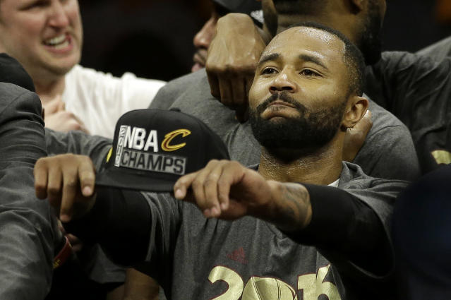 Cleveland Cavaliers guard Mo Williams celebrates after Game 7 of basketball's NBA Finals between the Golden State Warriors and the Cavaliers in Oakland, Calif., Sunday, June 19, 2016. The Cavaliers won 93-89. (AP Photo/Marcio Jose Sanchez)