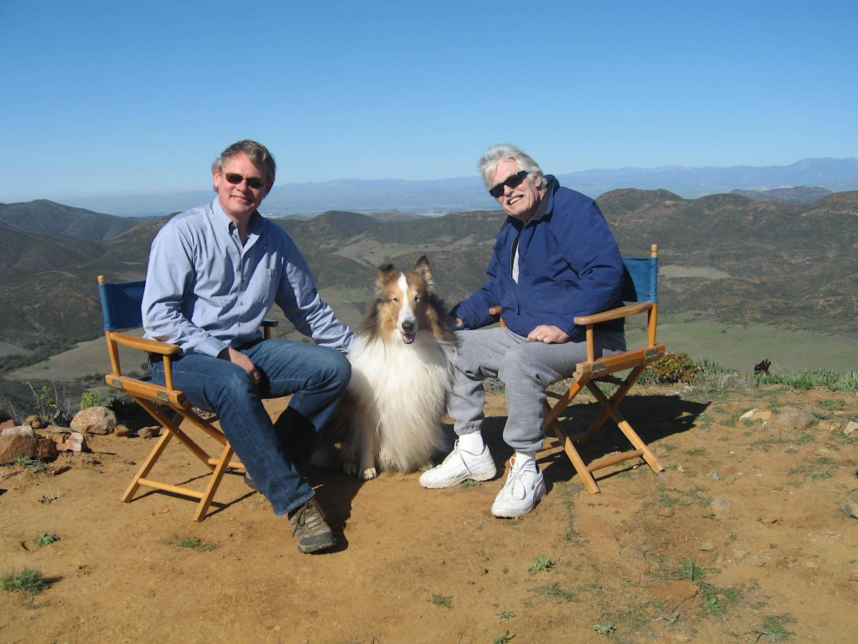 Martin Clunes meets Laddie, the son of Lassie with owner Bob Weatherwax. (ITV)