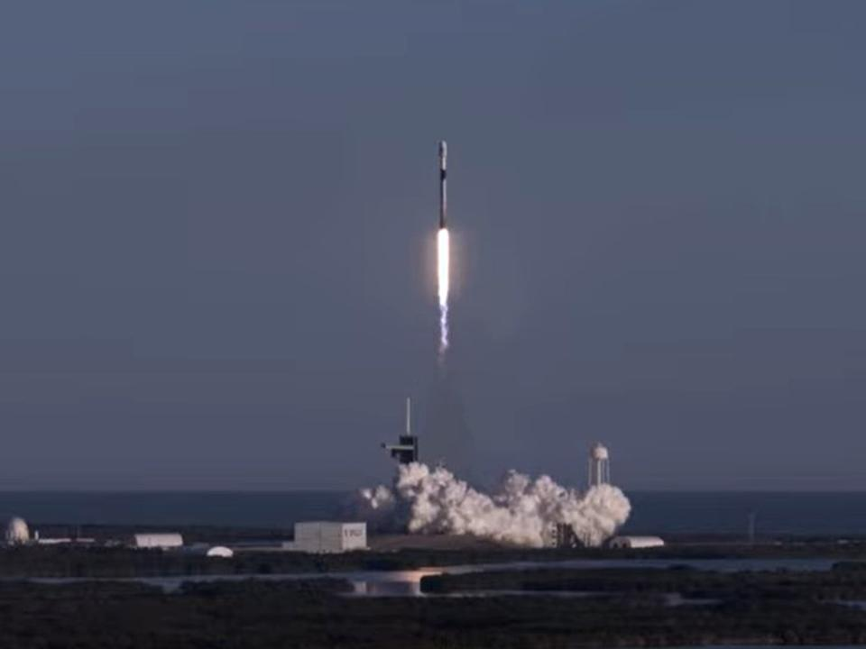 <p>The SpaceX Falcon 9 rocket carrying 60 Starlink internet satellites lifts off in Cape Canaveral, Florida, on Wednesday 20 January, 2021</p> (SpaceX)