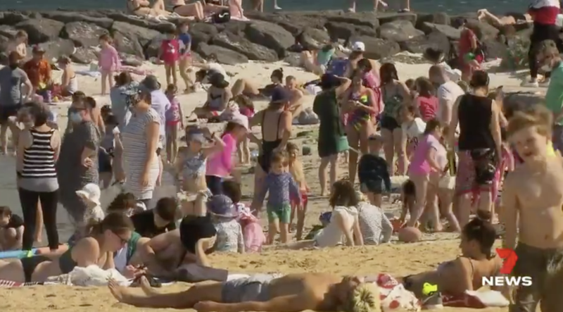 People at Willamstown beach, Melbourne, during Victoria's Covid-19 lockdown