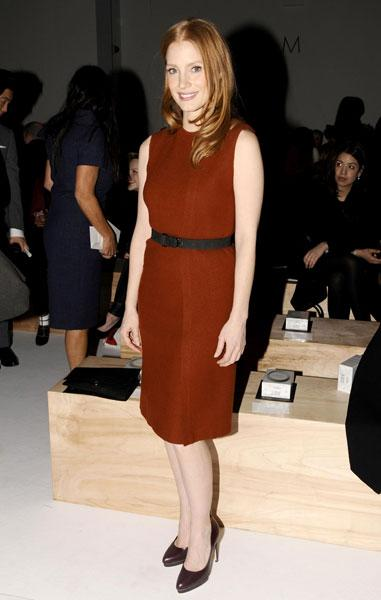 <b>Jessica Chastain <br></b><br>The Zero Dark Thirty actress donned a terracotta shift dress for the Calvin Klein show.<br><br>Image © Rex