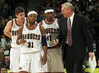 Dan Issel now says he was partially to blame for the practice boycott that Nuggets guard Nick Van Exel (No. 31) helped organize in December 2000