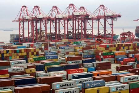 Containers are seen at the Yangshan Deep Water Port in Shanghai China
