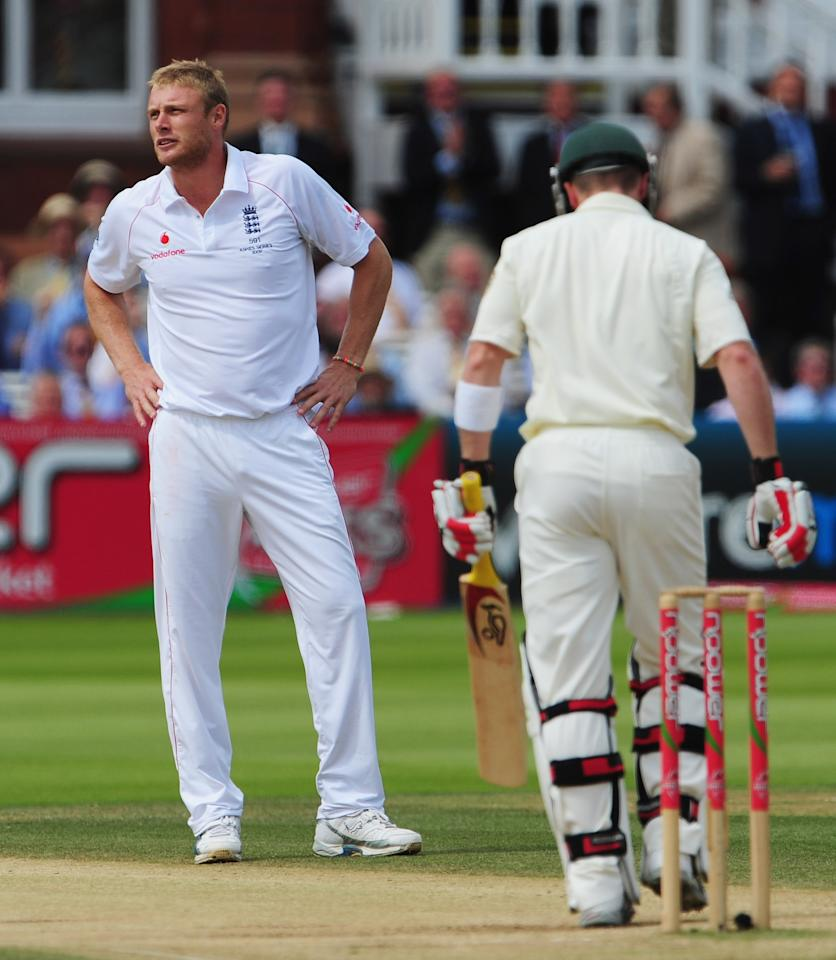 Andrew Flintoff, in his last Test at Lord's, snared five batsmen to scupper the chase.