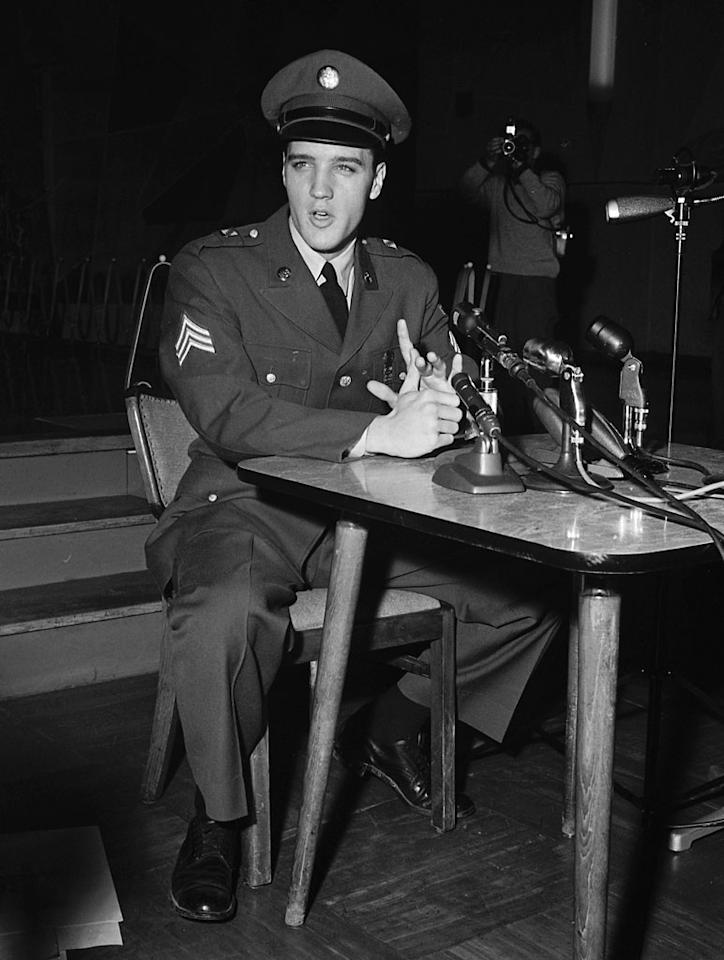 """<strong>1960</strong> – After serving for two years, hip-shaking rock 'n' roller and movie star Sgt. <a href=""""http://movies.yahoo.com/person/elvis-presley/"""">Elvis Presley</a> was released from the U.S. Army on this day. Some 8 months later, he starred in the movie """"G.I. Blues""""."""