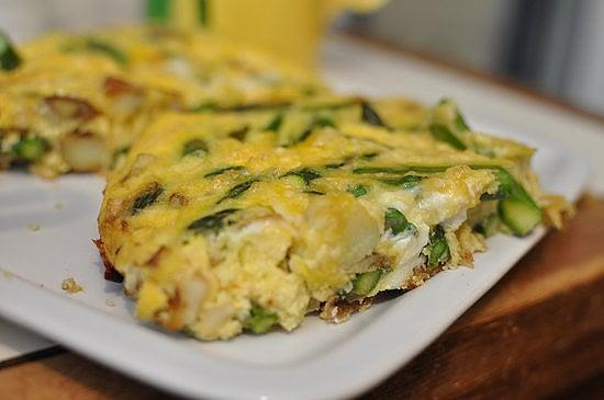 """<p>Time to chop up those Spring veggies and treat yourself with this <a href=""""https://www.popsugar.com/fitness/Recipe-Asparagus-Cheese-Potato-Frittata-8425753"""" class=""""link rapid-noclick-resp"""" rel=""""nofollow noopener"""" target=""""_blank"""" data-ylk=""""slk:veggie and potato frittata"""">veggie and potato frittata</a>.</p>"""