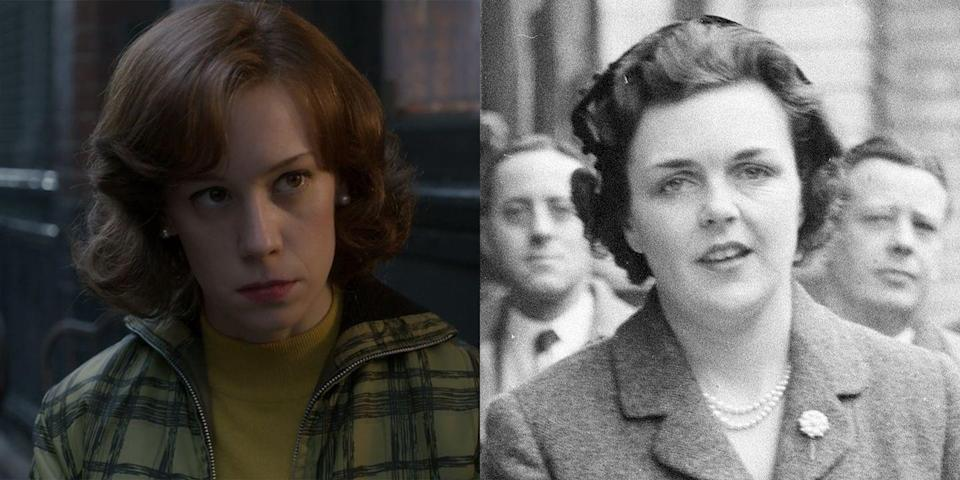 """<p>Played by Scottish actress Chloe Pirrie (whom you might recognize from the 2013 <em>Black Mirror</em> episode """"The Waldo Moment""""), Eileen Parker rocked the boat that is Buckingham Palace when her request for divorce led to Michael Parker's resignation, thereby igniting a wave of rumors about Queen Elizabeth and Prince Philip's marriage. Basically, Michael allegedly did some carousing while on tour with Prince Philip, and it was unclear if the queen's husband had…joined in on the fun as well. When Eileen was granted the divorce in 1958 on the grounds of adultery, she <a href=""""https://www.vanityfair.com/hollywood/2017/12/queen-elizabeth-prince-philip-affair-eileen-parker-the-crown-netflix"""" rel=""""nofollow noopener"""" target=""""_blank"""" data-ylk=""""slk:reportedly said"""" class=""""link rapid-noclick-resp"""">reportedly said</a>, """"I am very glad it's all over. I now hope to disappear from the public eye and live quietly."""" Twenty-four years later, she published a tell-all memoir, <em><a class=""""link rapid-noclick-resp"""" href=""""https://fave.co/2PAmKGm"""" rel=""""nofollow noopener"""" target=""""_blank"""" data-ylk=""""slk:Step Aside for Royalty"""">Step Aside for Royalty</a></em>, which has since gone out of print. </p>"""