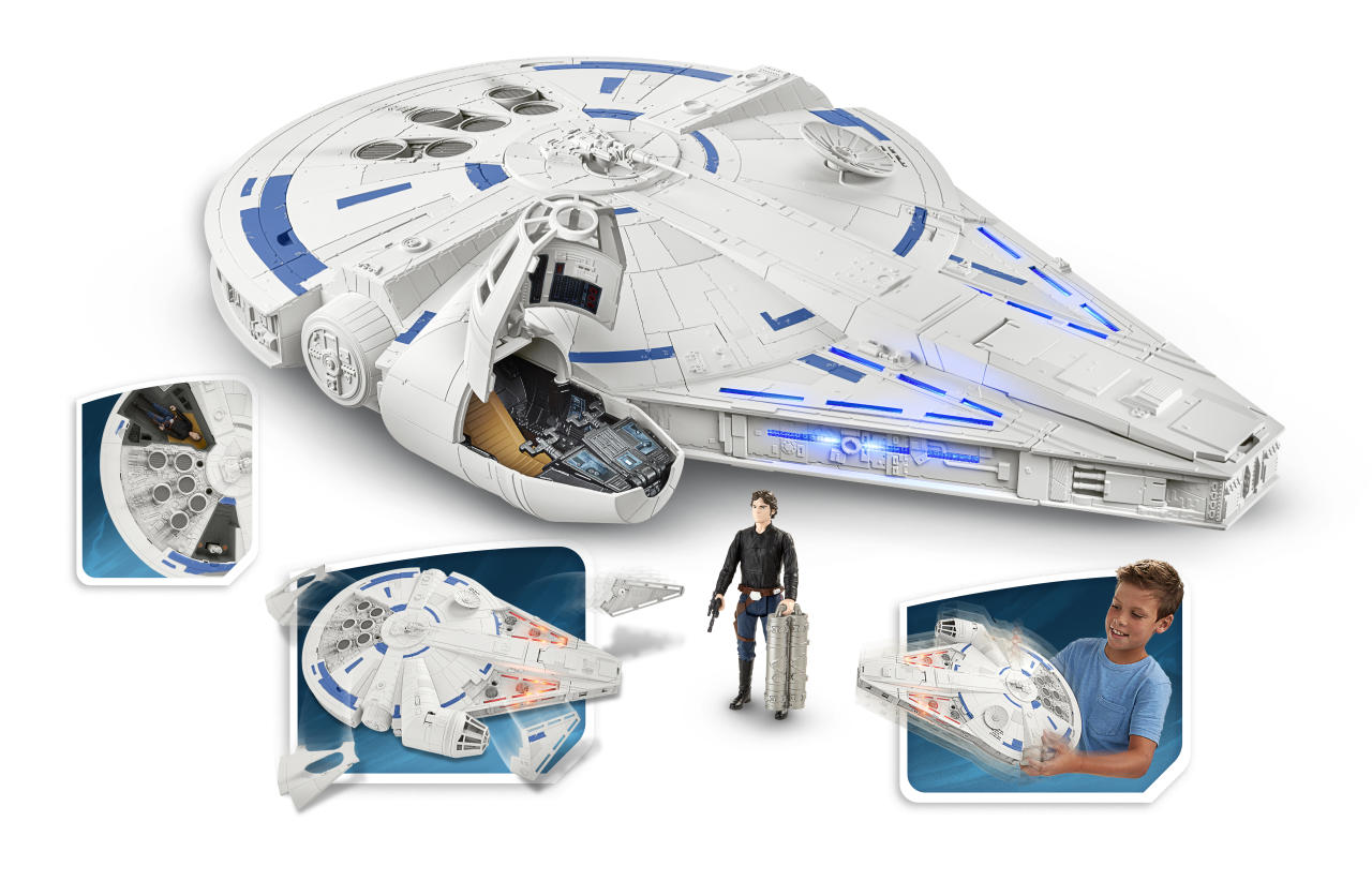 "<p>If you prefer your Falcons in a non-Lego variety, Hasbro has this Force Link 2.0-enabled re-creation of the signature <em>Star Wars</em> spacecraft, including ejectable panels and a detatchable escape pod. Somehow we think that both of those elements are going to be part of the big Kessel Run sequence in <a rel=""nofollow"" href=""https://www.yahoo.com/entertainment/tagged/solo""><em>Solo: A Star Wars Story</em></a>. (Photo: Hasbro) </p>"